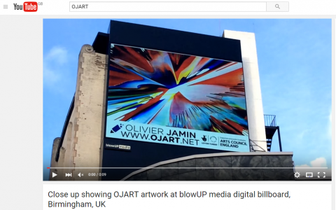 Capture- Close up showing OJART artwork at blowUP media digital billboard Feb 2016