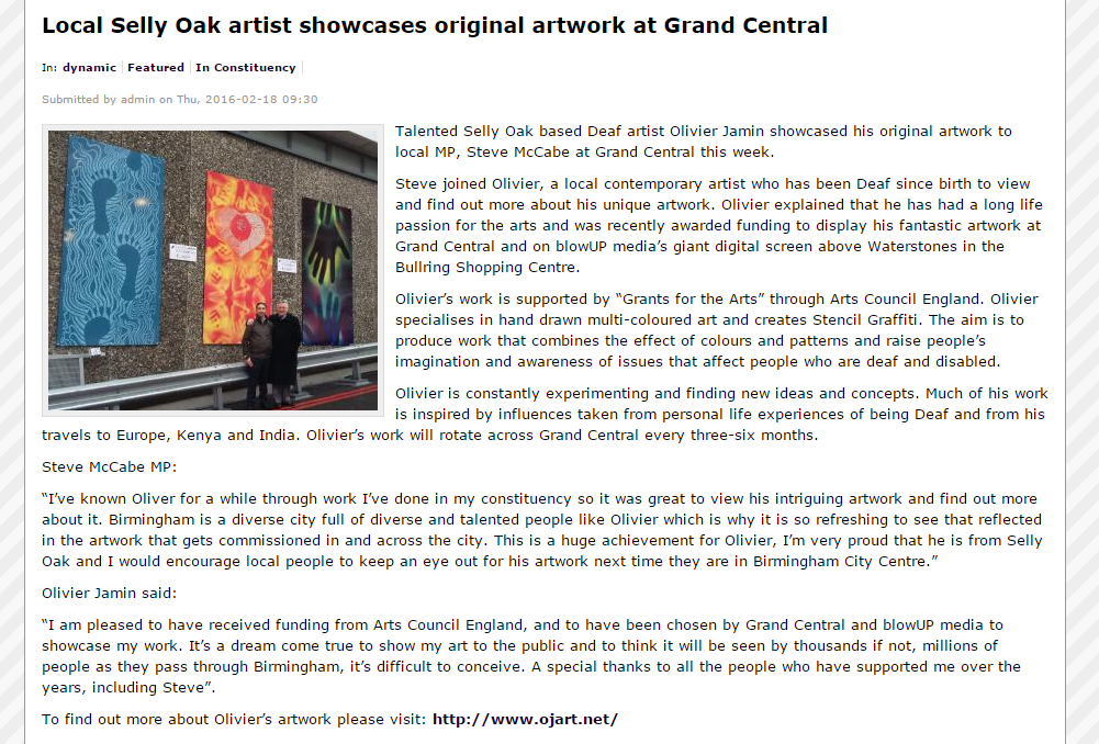 Capture -  Steve McCabe MP website about Olivier's work at Grand Central 17th February 2016