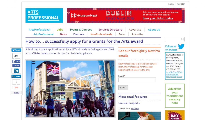Capture - OJ Article with Arts Professional 29th Feb 2016